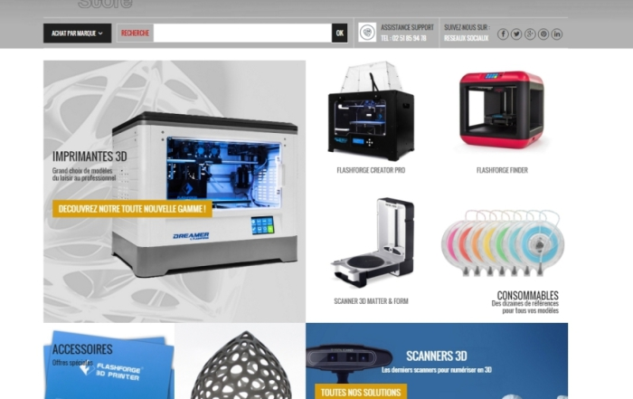 Millenium3d Store Site Wordpress Woocommerce Nantes