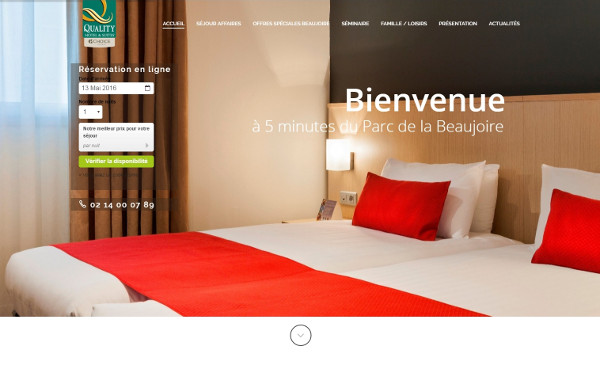 Site WordPress Hotel Quality Suites Nantes Beaujoire