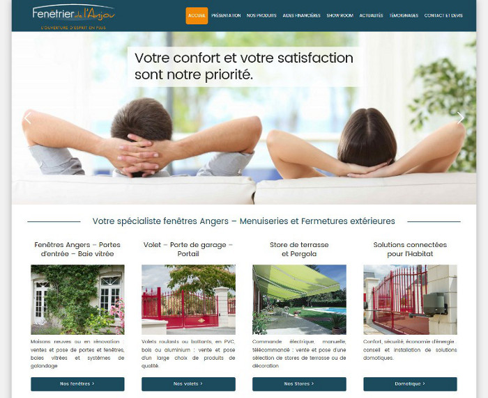 Fenetrier Anjou site WordPress Angers
