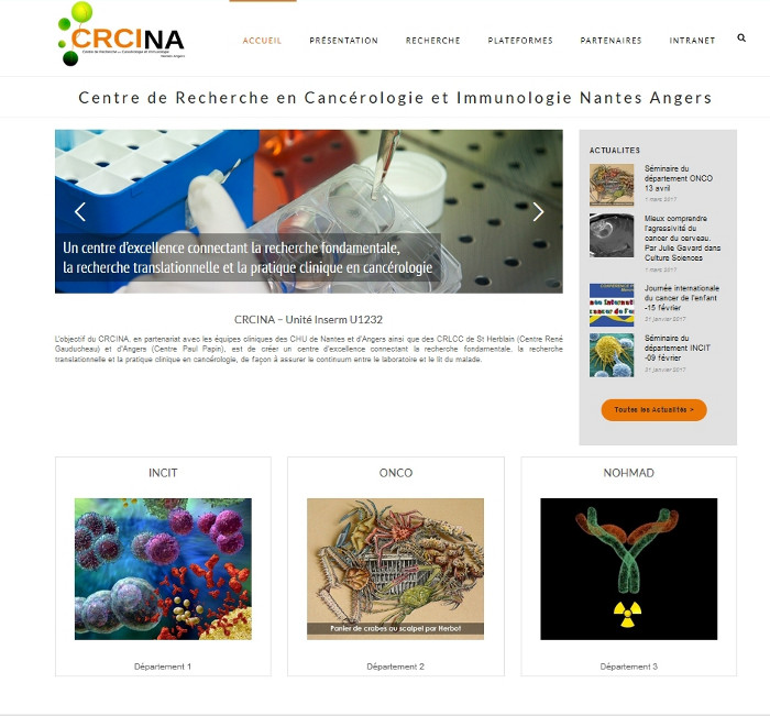 CRCINA Site Wordpress Nantes Angers