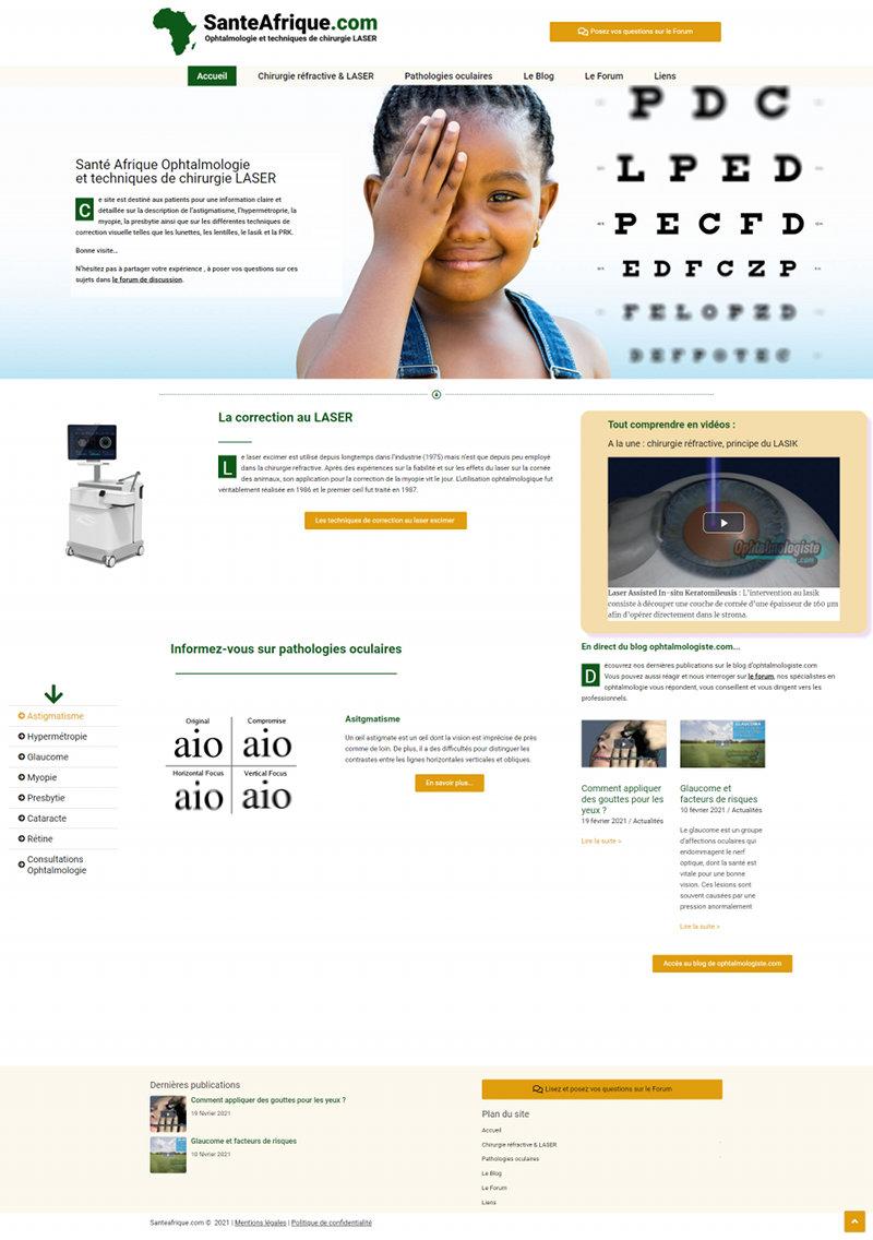 Sante Afrique site internet ophtalmologie